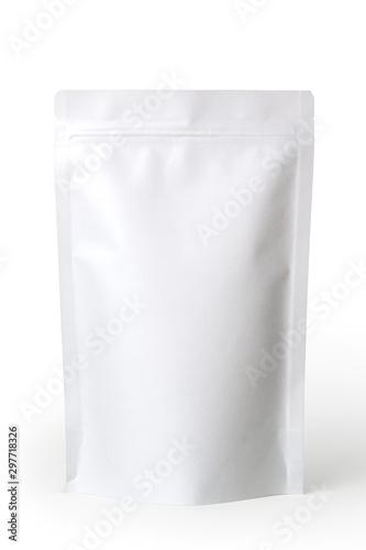 Fototapeta White paper zipper bag packaging. Isolated on white background.