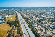 Cars Driving On Monash Freeway At Wheelers Hill Suburb In Melbourne, Australia - Aerial View