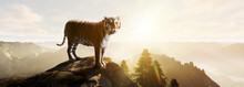 Tiger Standing On A Stone At S...