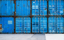 ,Stack Of Blue Containers In A...