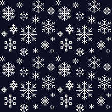 Snowflakes Christmas And New Year Seamless Pattern Fabric Textures, Winter Pattern, Pixel Art Vector Monochrome Illustration. Design For Web And Mobile App.