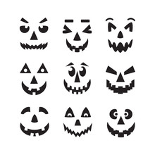 Black Scary, Cool And Funny Isolated Halloween Pumpkin Faces Icons Set On White Background