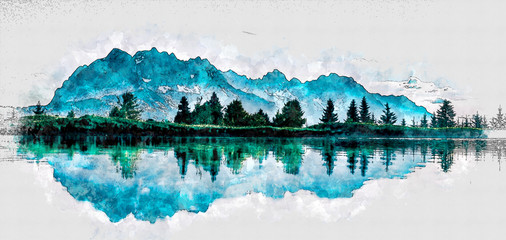 Beautiful watercolor painting of forest and mountiain reflecting in the river water. Wild Trees Illustration. watercolor background drawn landscape of foggy forest Wild nature. Modern Art Painting