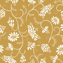 Beautiful White Wild Flowers With Leaves On Mustard Yellow Background Seamless Vector Floral Pattern Background For Fabric, Scrapbooking, Invitation Cards Or Wallpaper.