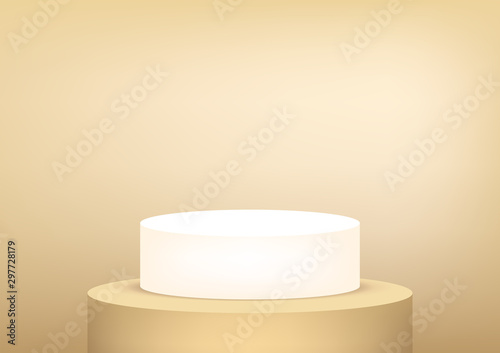 Leinwand Poster Empty podium studio gold background for product display with copy space