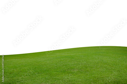 Spoed Fotobehang Weide, Moeras Green grass field isolated on white background with clipping path.