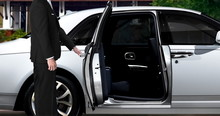 Limo Driver Opening White Car ...