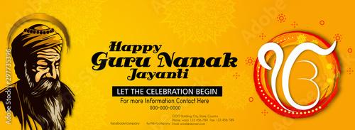 illustration of Happy Gurpurab, Guru Nanak Jayanti festival of Sikh celebration Tablou Canvas