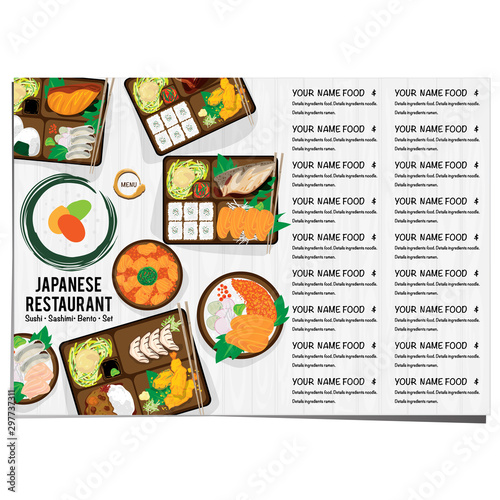 Photo bento sushi set japanese food restaurant menu template design graphic