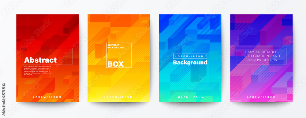 Fototapety, obrazy: Set of abstract isometric cube rod on gradient background. Minimal futuristic background for Brochure, Flyer, Poster, leaflet, Annual report, Book cover, Banner, Presentation, Website, App, wallpaper.