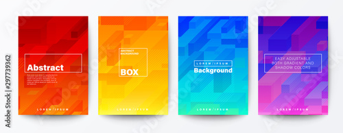 Set of abstract isometric cube rod on gradient background. Minimal futuristic background for Brochure, Flyer, Poster, leaflet, Annual report, Book cover, Banner, Presentation, Website, App, wallpaper.