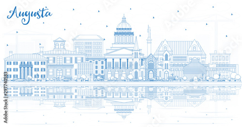 Outline Augusta Maine City Skyline with Blue Buildings and Reflections Canvas Print