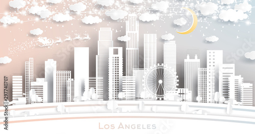 Naklejki miasto  los-angeles-usa-city-skyline-in-paper-cut-style-with-snowflakes-moon-and-neon-garland