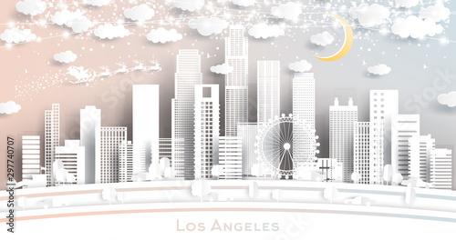 Naklejki miasto  los-angeles-usa-city-skyline-w-stylu-paper-cut-z-platkami-sniegu-ksiezycem-i-neonowa-girlanda