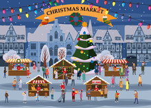 Christmas Market Or Holiday Winter Outdoor Fair On Oldtown Square Big New Year Tree Cityscape