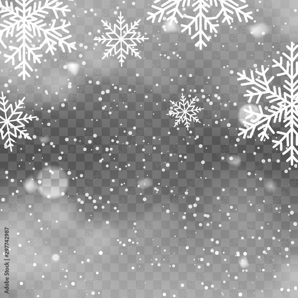 Fototapety, obrazy: Realistic snowfall on transparent background. Falling snowflakes. Vector