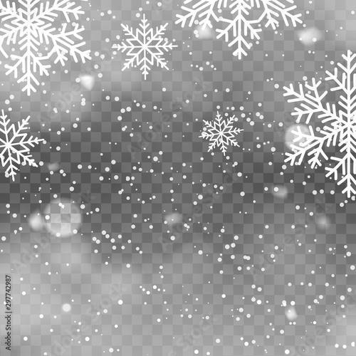 Fototapeta Realistic snowfall on transparent background. Falling snowflakes. Vector obraz na płótnie