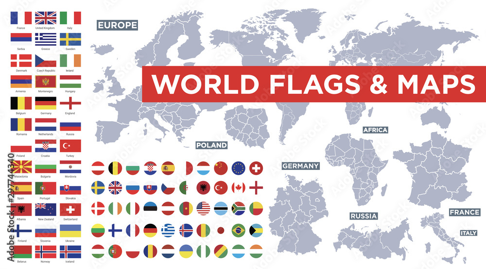 Fototapety, obrazy: World flags vector collection