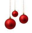 canvas print picture - Perfect hunging red christmas balls isolated on a white