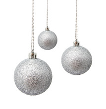 Perfect Hunging Silver Christmas Balls Isolated On A White