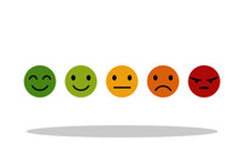 5 Different Emotions Icon In Flat Style. Emotions Symbol For Your Web Site Design, Logo, App, UI Vector EPS 10.