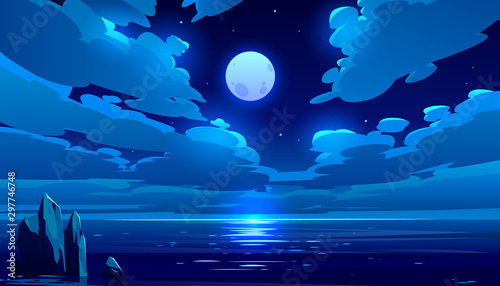 Obraz Full moon night ocean or sea landscape. Starry sky with clouds and moonlight reflection in dark water surface, romantic fantasy natural scene background, midnight time. Cartoon vector illustration - fototapety do salonu