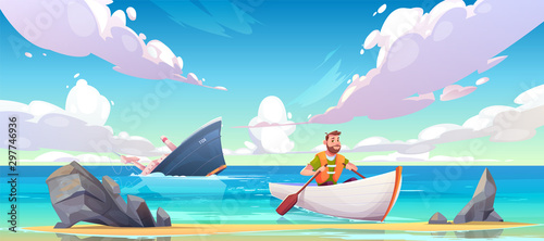 Man escaping from sinking ship after shipwreck accident, vessel run aground in ocean, going under water surface, character in life vest rowing in boat to beach with rocks Wallpaper Mural