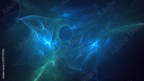 Poster Fractal waves Fractal 3D rendering abstract light surreal background