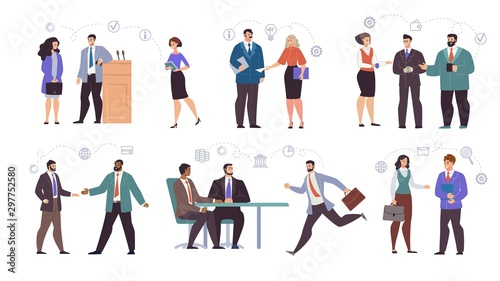 Businesspeople Teams Characters Flat Vector Set Canvas Print