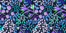 Amazing Alien Plants (vines, Flowers, Tree Leaves). Floral Seamless Pattern On Dark Background. Fantastic Vector Illustration In The Style Of Hand-drawn.