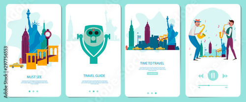 Mobile app onboarding screens set. New York Travel guid and landmark. Menu vector banner template for website and mobile development. Web site design flat illustration.