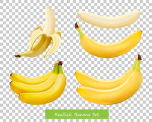 Set Of Different Bananas. 3d R...