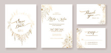 Gold Wedding Invitation, Save The Date, Thank You, Rsvp Card Design Template. Vector. Winter Flower, Rose, Silver Dollar, Olive Leaves, Wax Flower, Anemone.