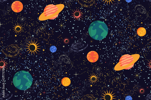 fototapeta na ścianę Space print. Seamless vector pattern. Different colored planets of the Solar system, stars and galaxies on a dark background. Universe, outer space template. Modern flat design.
