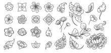 Flower And Leaf Line Clip Arts.