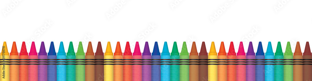 Fototapety, obrazy: Rainbow wax crayons aligned in row. Panorama illustration. Multicolored color penicls.