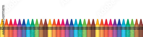 Rainbow wax crayons aligned in row. Panorama illustration. Multicolored color penicls.