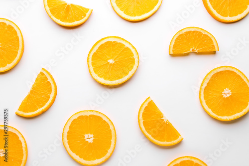 Fototapety, obrazy: Fresh orange slices on white background