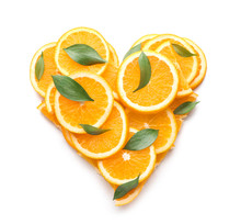 Heart Shape Made Of Orange Sli...
