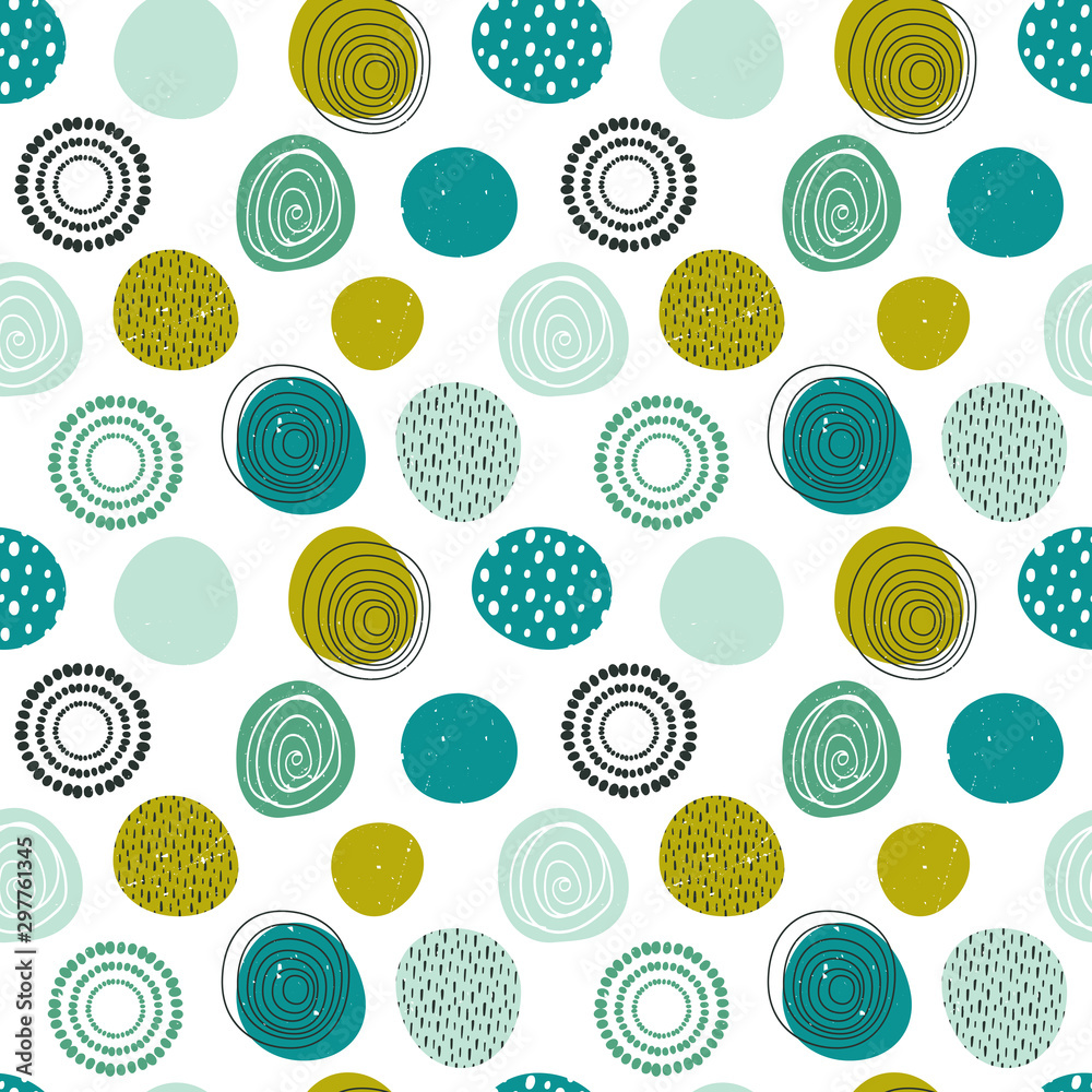 Beautiful vector seamless pattern in simple scandinavian style. Abstract colorful round shapes on white background. Repeating wallpaper. Trendy design for textile, fabric, surfaces, paper wrapping.