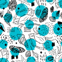Seamless Pattern With Stylized Crabs. Can Be Used For Invitations, Greeting Cards, Print, Gift Wrap.