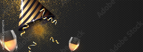 Fototapeta Advertising header or banner design with party hat, wine glasses and glittering effect on black transparent background. obraz