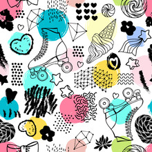 Seamless Pattern With Cute Ret...