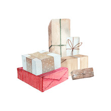 Watercolor Christmas Presents. Hand Drawn Gift Boxes Composition On White Background. Set Of Greeting Objects In Vintage Style