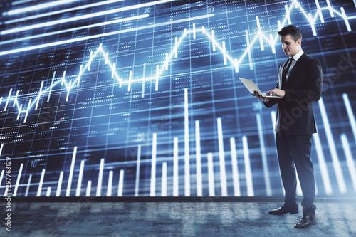 Businessman and forex graph hologram Wallpaper Mural