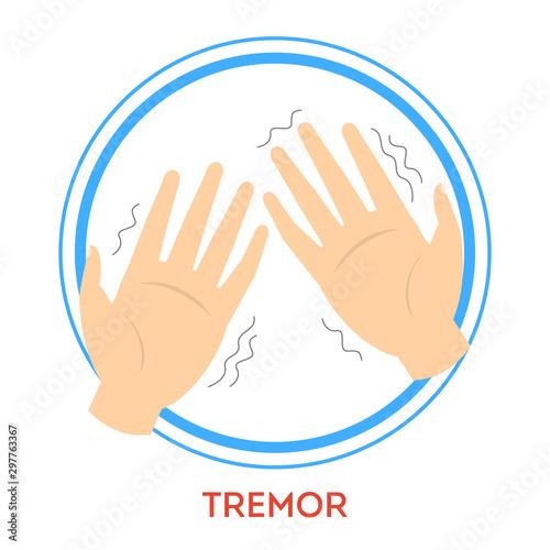 Photo Parkinson disease symptoms. A tremor. Shaking hand