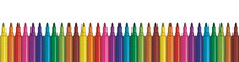 Rainbow Color Markers Aligned In Row. Panorama Illustration Of Colorful Felt Pens.