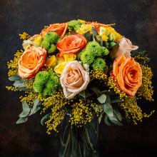 Roses Bouquet With Orange, Yel...