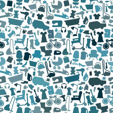 Shopping Icons Pattern With Th...
