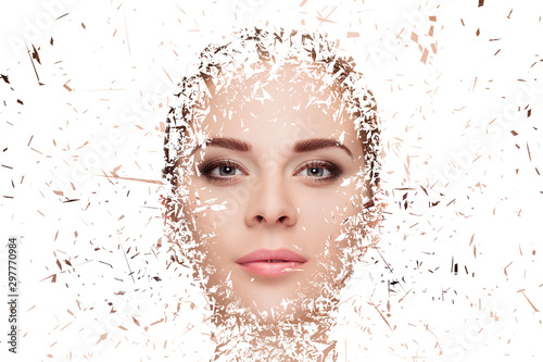 Fototapeta  portrait of beautiful young blonde woman face crushed on white background